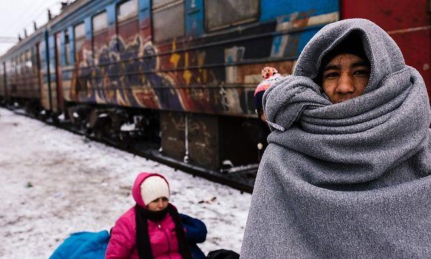 Flüchtlinge in Presevo.