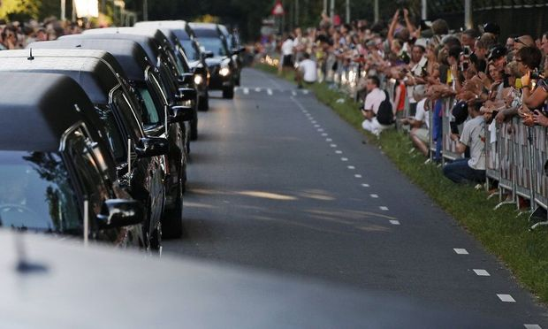 The second funeral procession with the victims of flight MH17 arrive at the Korporaal van Oudheusden
