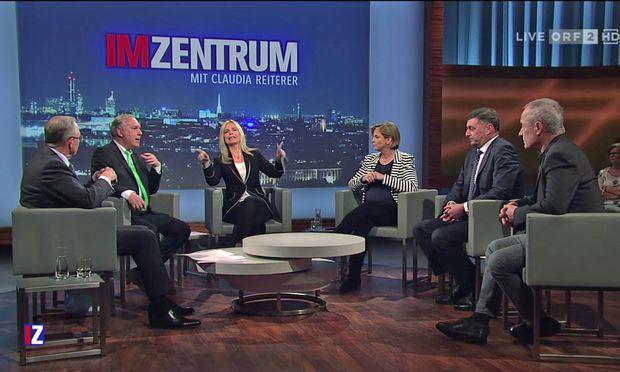 V.l.n.r: Karl Mahrer (ÖVP), Walter Rosenkranz (FPÖ), Moderatorin Claudia Reiterer, Beate Meinl-Reisinger (Klubobfrau der Neos), Jörg Leichtfried (SPÖ) und Peter Pilz (Jetzt).