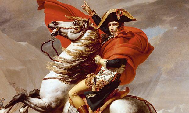 Napoleon Bonaparte überquert den St.-Bernhard-Pass, gezeichnet von seinem Hofmaler Jacques-Louis David.