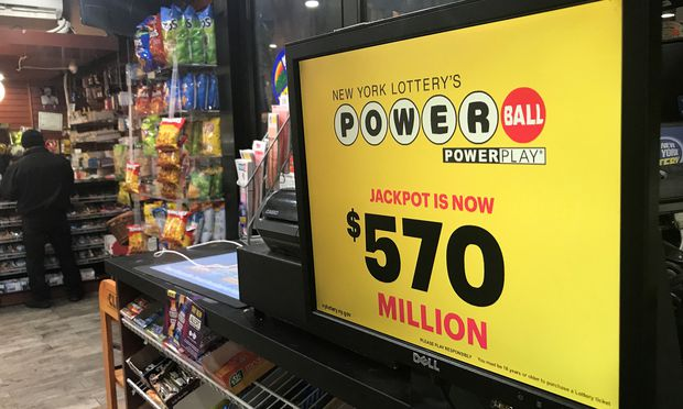 A Powerball sign is pictured in a store in New York City