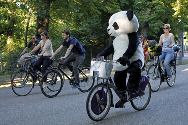 Radeln im Pandakostüm? Abgesehen vom Radkorso (im Bild) angesichts der Sichtfeld-Einschränkung wohl lieber nicht.