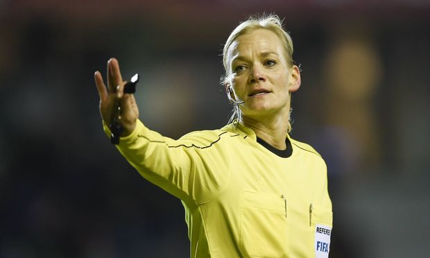 The referee Bibiana Steinhaus pictured during a friendly game between Belgium and The Netherlands i