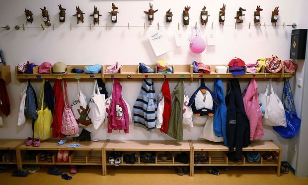 Wardrobe for children is seen inside Kindergarten in Hanau