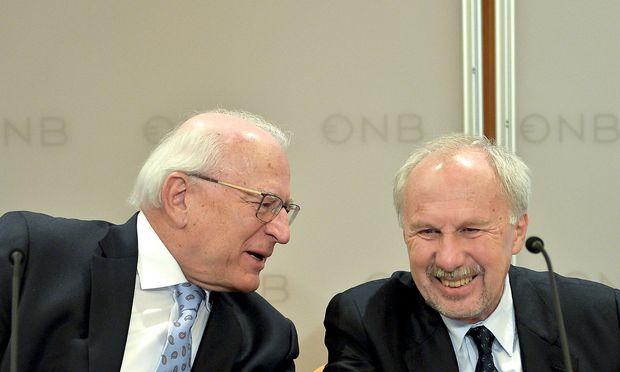 Notenbankspitze Claus Raidl und Ewald Nowotny