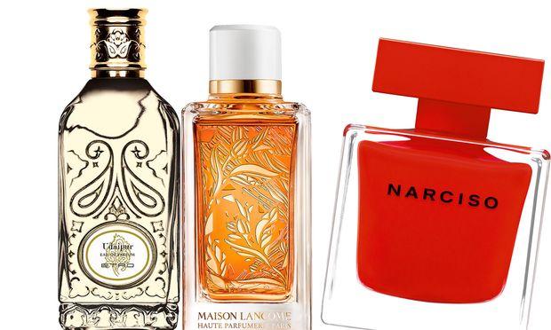 """Gut gemacht. """"Udaipur"""" von Etro, 100 ml um 160 €. """"Oranges Bigarades"""" von Lancôme, 100 ml um 200 Euro.  """"Eau de Parfum Rouge"""" von Narciso Rodriguez, 50 ml um 82 €."""