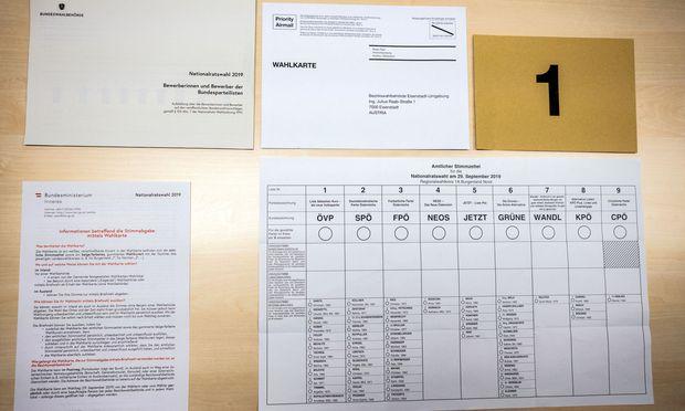 Inhalt eines Wahlkarten-Sets für die Nationalratwahl 2019
