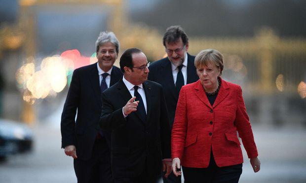 Paolo Gentiloni, Francois Hollande, Mariano Rajoy und Angela Merkel