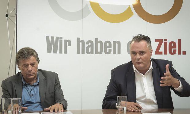 Schröcksnadel mit Doskozil bei der Pressekonferenz.