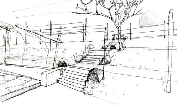 Skizzenhaft. Zuerst Gedanken, dann Linien, dann Landschaftsbilder.