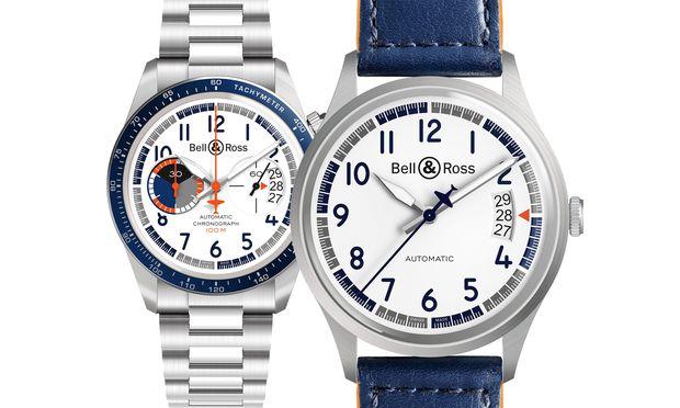 """Uhren zum Abheben. Die Modelle des """"Racing Bird"""". Einmal als schlichter Dreizeiger, einmal als Chronograf, beide in Edelstahl."""