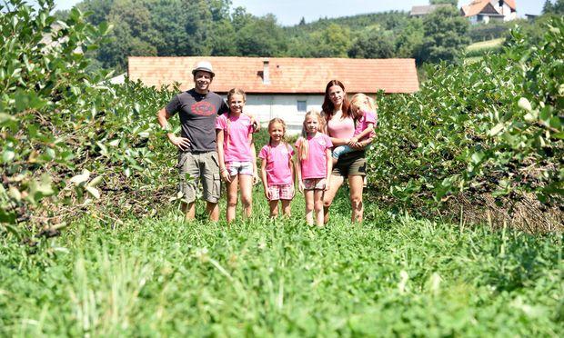 Christoph und Birgit Reinhart mit ihren vier Töchtern. Diese helfen selten beim Pflücken – dafür aber dann beim Etikettieren.