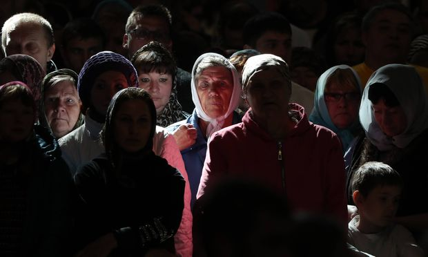 MOSCOW RUSSIA MAY 22 2017 Orthodox believers attend a liturgy conducted at the Cathedral of Chr
