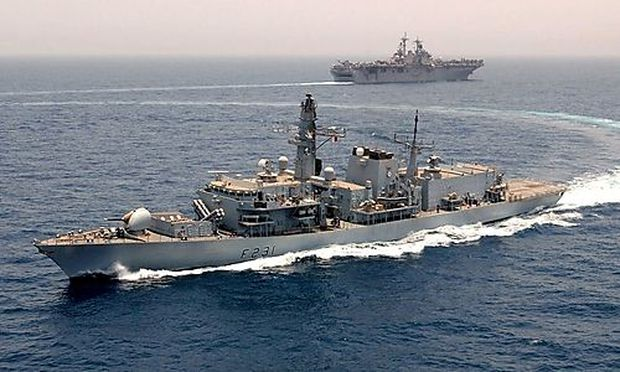 File photo of the Royal Navy frigate HMS Argyll conducting exercises with the U.S. Navy aircrafty car