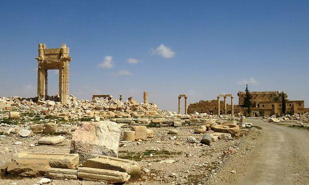 Die historischen Ruinen von Palmyra nach der Eroberung durch die Assad-Truppen.