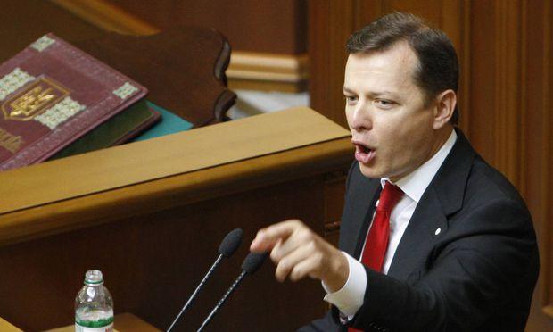 ITAR TASS KIEV UKRAINE SEPTEMBER 2 2014 Ukraine s Radical Party leader Oleh Lyashko speaks at a