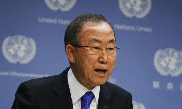 United Nations Secretary-General Ban speaks during a news conference in New York