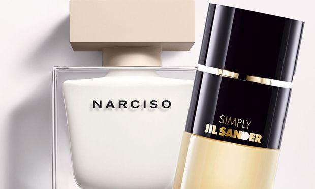 """Puristen. """"Narciso"""" von Narciso Rodriguez, 50 ml Eau de Parfum um 82 Euro. """"Simply"""" von Jil Sander, 60 ml Eau de Parfum um 74 Euro."""
