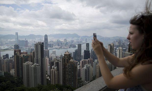 Hong Kong vor Ankunft des Taifuns.