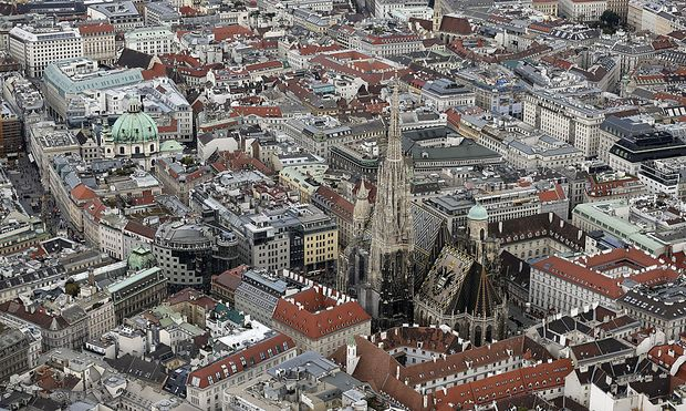 File photo of St. Stephen's cathedral seen in an aerial photo of Vienna