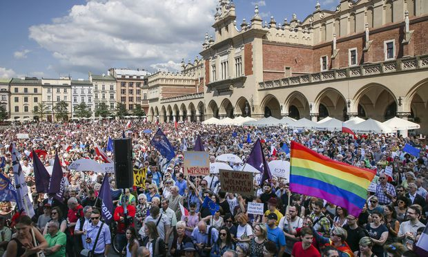 2017 Krakow Poland Few thousand people protested at the Main Square against government plans fo