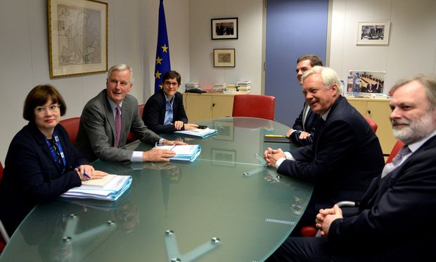 EU´s chief Brexit negotiator Barnier and Britain´s Secretary of State for Exiting the European Union Davis attend a meeting in Brussels