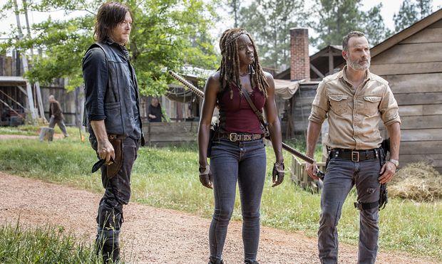 Daryl, Michonne und Rick sehen in der ersten Folge von Staffel neun nicht gerade erfreut aus