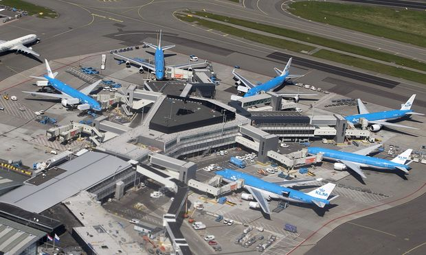 KLM aircraft are seen on the tarmac at Schipol airport near Amsterdam