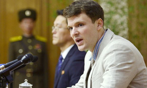 Otto Warmbier bei einer Pressekonferenz in Nordkorea am 29. Februar 2016.