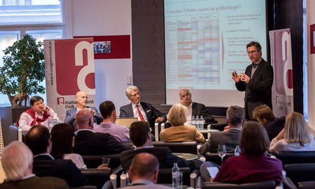 Diskutierten im Management Club: Alfred Taudes (WU), Rainer Kalkbrener (ACP), Moderator Georg Krause (MC), Harald Leitenmüller (Microsoft), Elmar Pichl (BMWFW).