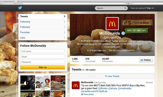 TwitterStreich Burger King McDonalds