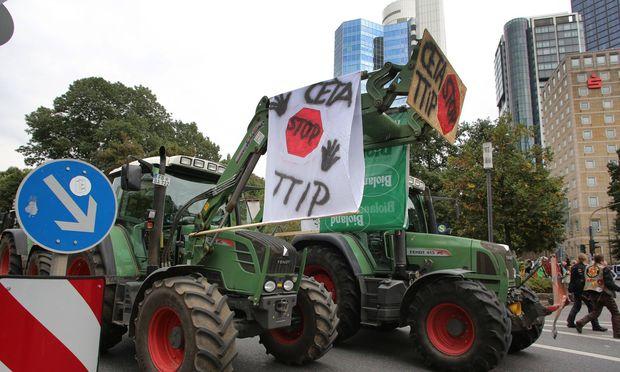 Proteste gegen TTIP und CETA in Frankfurt.