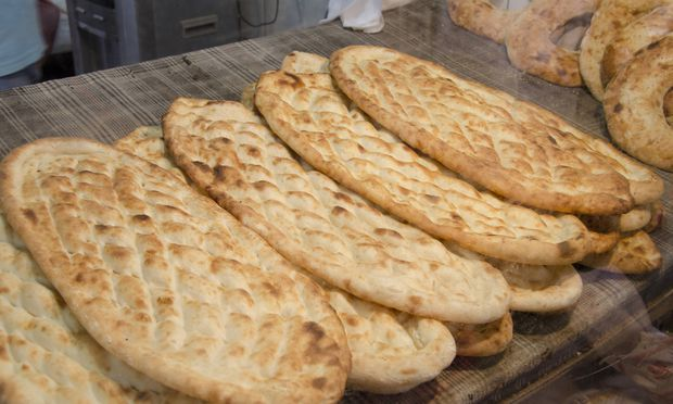 Eastern Turkey Anatolia Upper Mesopotamia Mardin Bakery fresh baked Turkish flat bread aka Pid