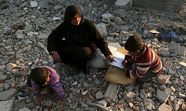 Eine Flüchtlingsfamilie im Gaza-Streifen