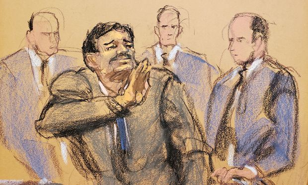 Joaquin 'El Chapo' Guzman waves to his wife Emma Coronel Aispuro in this court sketch during a sentencing hearing for Guzman in New York City