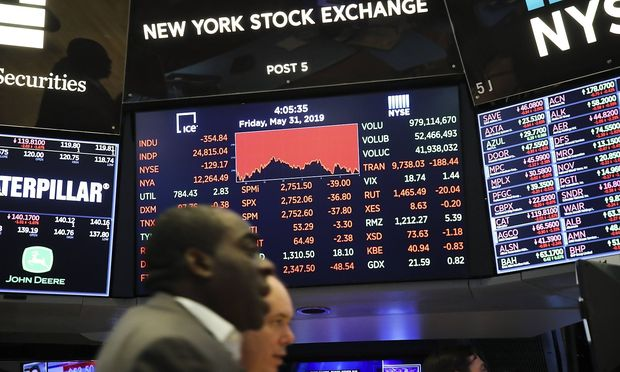 190531 NEW YORK May 31 2019 Xinhua Electronic screens show trading information at the N