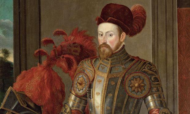 Erzherzog Ferdinand II. um 1556 in der sogenannten Adlergarnitur, mit böhmischem Hut.