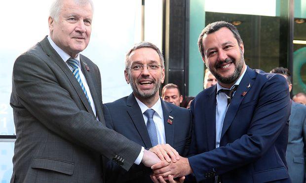 Horst Seehofer, Herbert Kickl und Matteo Salvini.