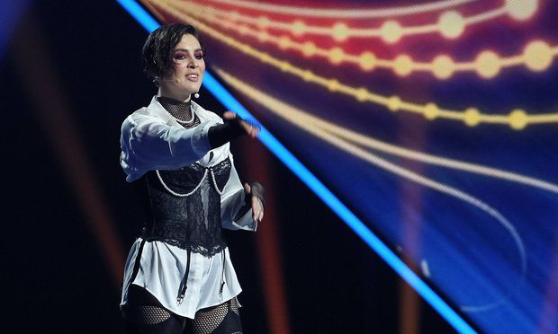 February 23 2019 Kiev Ukraine Ukrainian singer MARUV performs during the Eurovision Song Cont