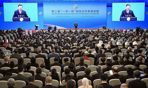 "Chinas Staatschef Xi Jinping bei der Eröffnungsrede des ""Belt and Road""-Forums."