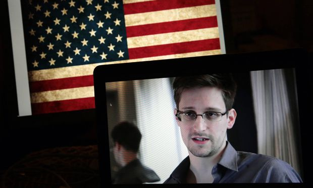 ITAR TASS MOSCOW RUSSIA JANUARY 23 2014 Former CIA agent Edward Snowden on screen gives onlin