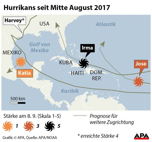 Hurrikans seit Mitte August