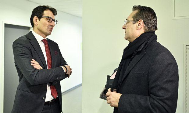 Rechtsanwalt und Verfassungsrichter Michael Rami (l.) mit FPÖ-Obmann Vizekanzler Heinz-Christian Strache im Gericht.