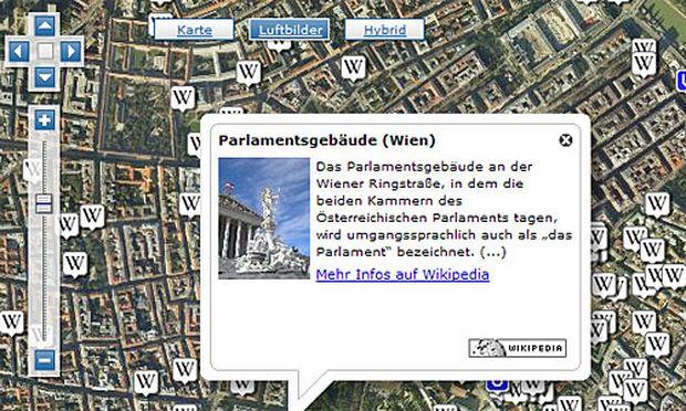 Luftbild mit Wikipedia-Eintrag zum Wiener Parlament