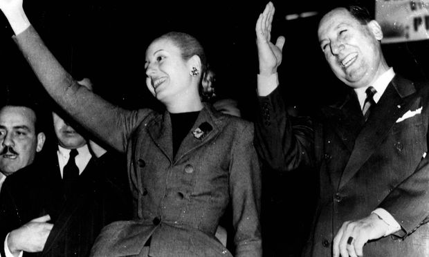 Juan Domingo Peron und seine Frau Eva Duarte de Peron