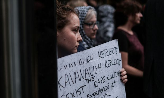 Activists hold a protest and rally in opposition to U.S. Supreme Court nominee Brett Kavanaugh near Trump Tower in New York