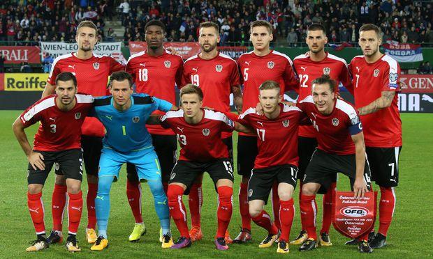 Die Österreichische Fußballnationalmannschaft vor dem Spiel gegen Serbien am Freitag, den 6. Oktober 2017.