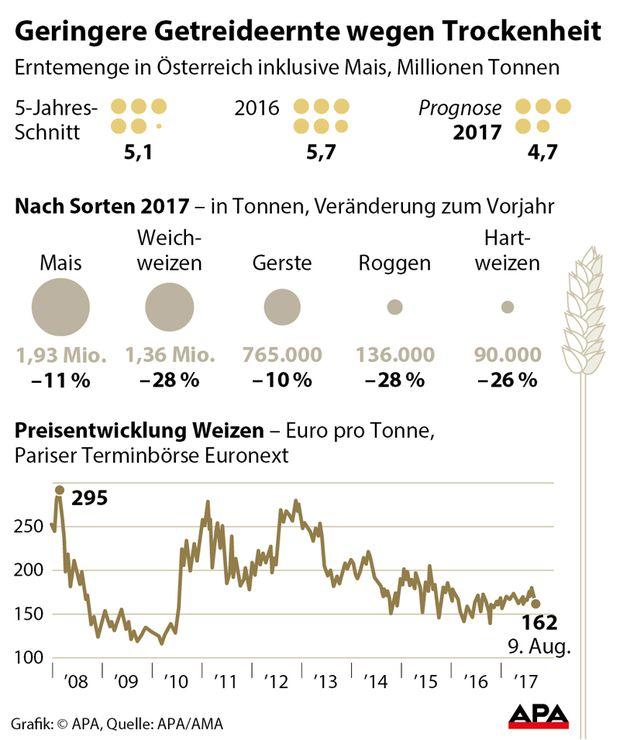 Geringere Getreideernte wegen Trockenheit