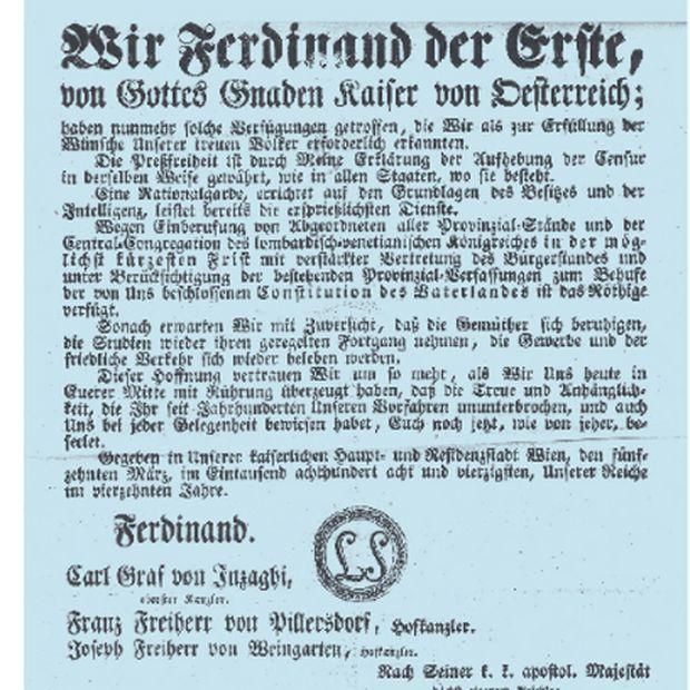 So geben wir ihnen halt die Pressefreiheit! Kaiserliches Patent vom März 1848.