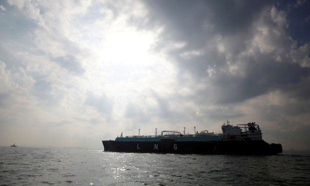 FILE PHOTO: A LNG carrying vessel sails at Tokyo Bay, offshore of Yokosuka
